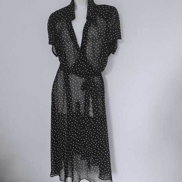 1e3f1cbbdebc Lane Bryant Dresses | New Sheer Polka Dot Wrap Dress | Poshmark